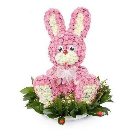 Купить на заказ Заказать Розовый зайчик с доставкой по Костанаю с доставкой в Костанае