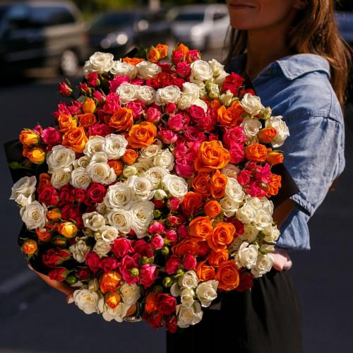Купить на заказ Заказать Букет из 51 спрей  розы с доставкой по Костанаю с доставкой в Костанае
